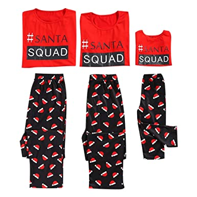 Honwenle Round Neck Santa Squad Letters Pattern Prints Matching Family Christmas Pajamas Sets