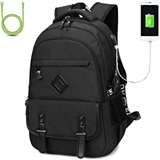 Qutool College Bagbacks Bookbags Handbags for Women/Men/Students/Girls/Boys Backpack with USB Charging Port for Men and Women Travel Bag School Backpack15 inch Laptop (Grey)