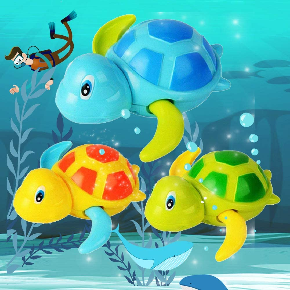 3Pcs Cute Turtle Baby Bathtub Floating Water Bathing Pool Fun Toys for Boys Girls Areedy Bath Swimming Wind Up Toys for Baby Toddlers