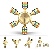 Kungber Customizable 6 Sided Premium Brass Fidget finger Spinner Luxury Quality Stabilizing Silent Focus and Reduce Stress Toy
