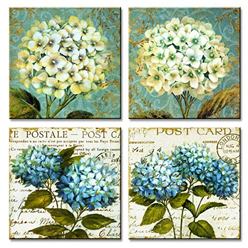 (MOCO ART Canvas Prints Wall Art Blue Flower Painting Picture Prints Artwork Stretched Framed for Home Living Room Decor (Hydrangea Flower(12x12inchx4pcs)))