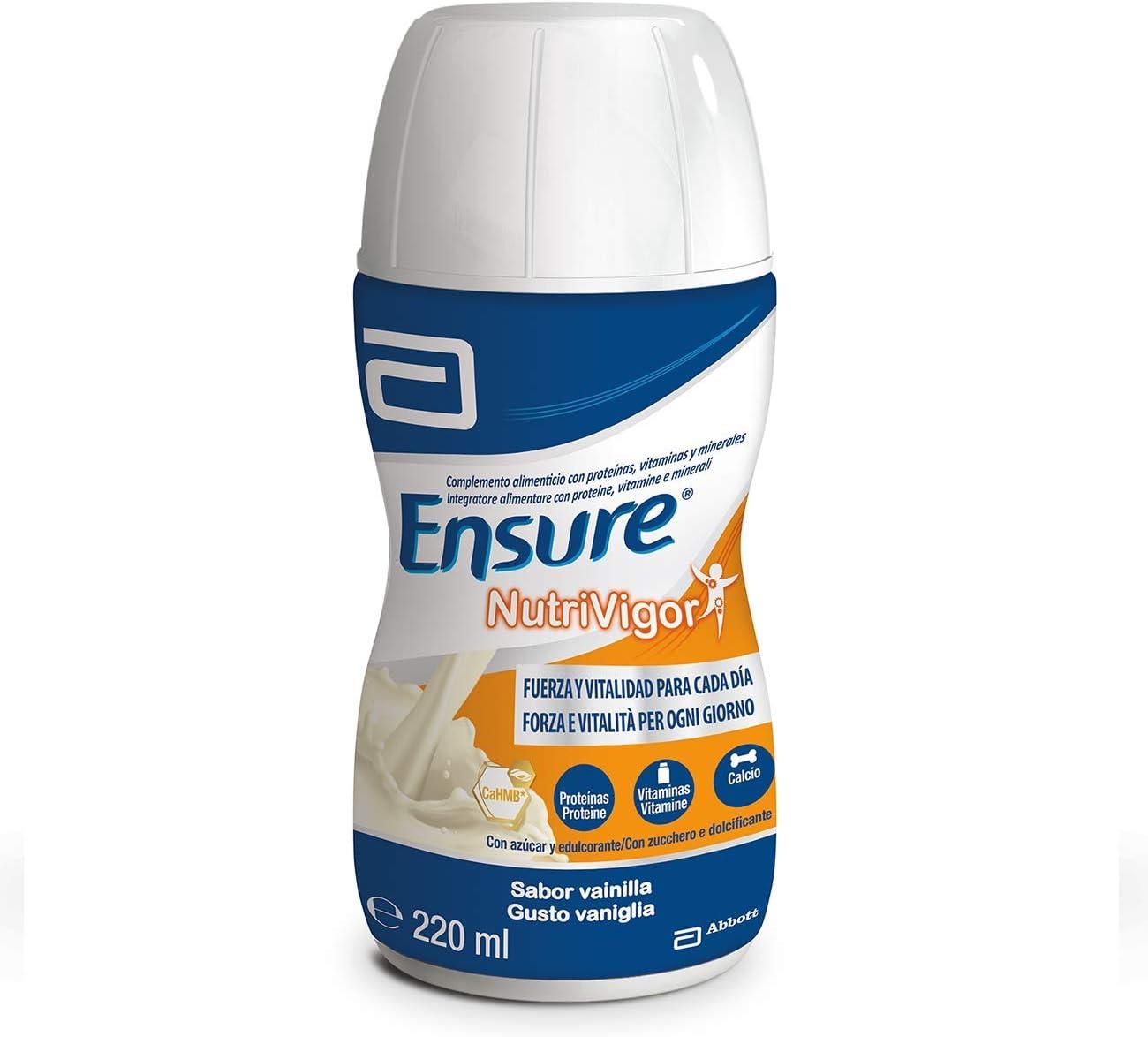 Ensure Nutrivigor - Complemento Alimenticio para Adultos, con HMB, Proteínas, Vitaminas y Minerales, como el Calcio - Sabor Vainilla - Pack de 4 ...