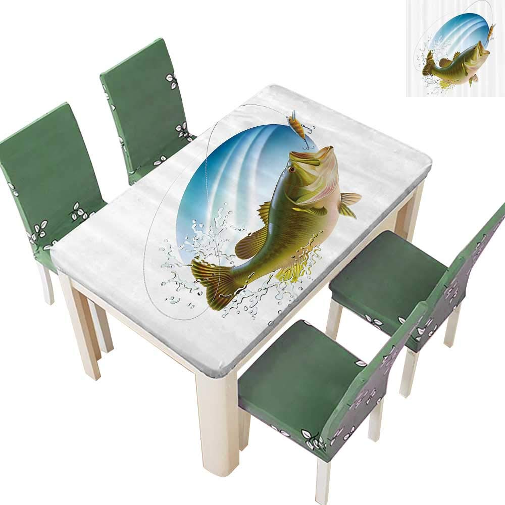 Printsonne Natural Tablecloth Largemouth Sea Bass Catching Bite in Water Spray Moti Splash Wild for Home Use, Machine Washable 54 x 120 Inch