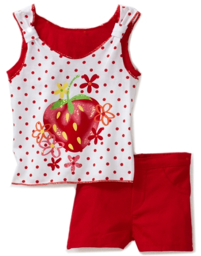 Young Hearts Baby Girls' 2 Piece Knit Tunic and Twill Short Set