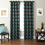 Softline Home Fashions Catara Circle Series Woven Jacquard Window Curtain/Drape/Panel/Treatment with Grommet Top, Chocolate/Turquoise, 55″ x 108″
