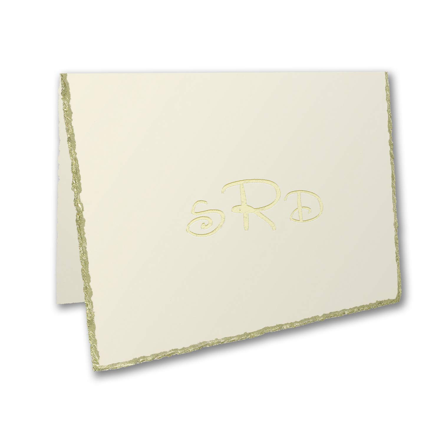 425pk Gold Deckle Edge - Note Folder - Ecru-Shop All Stationery