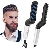 VOL MART™ Electric Hair Straightener Brush,Men Quick Beard Straightener Styler Comb,Hair Straightening,Curly Hair Straightening Comb,Side Hair Detangling, Multi functional Hair Curling Curler (White)