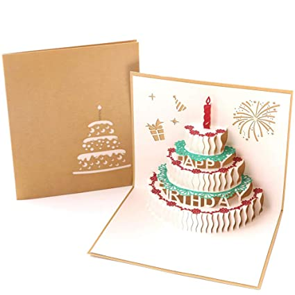 Paper Spiritz Pop Up Birthday Cake Cards Fathers Day Graduation All Occasion
