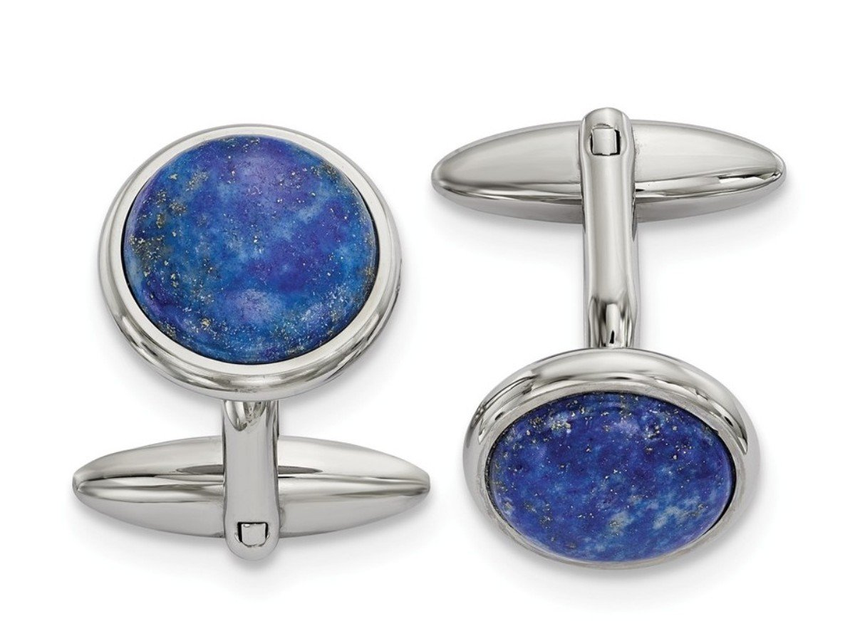 Stainless Steel, Blue Lapis Round Cuff Links, 25.26MMX19.27MM