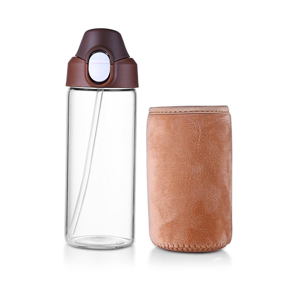 ガラスボトルwith Straw 15oz / 450ml – BPAフリーホウケイ酸ガラスタンブラーwith保護スリーブfor Kids Adult片手開きdhtmlh359 B07BBN5VNM ブラウン ブラウン