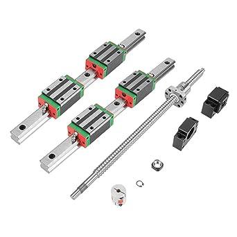 Guía lineal en miniatura, 2 unidades HGR20 400 mm lineal Rail Guide, puerta corredera lineal con