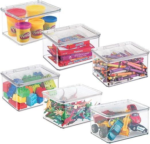 mDesign Práctico organizador de juguetes con tapa – Cajas de almacenaje para guardar juguetes bajo la cama