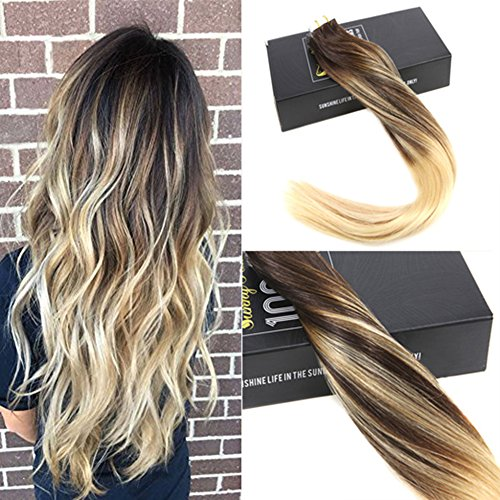 Sunny 18″ Tape Extensions Balayage Color Chocolate Brown Fading to Bleach Blonde Remi Hair Glue In Extensions Human Hair Remy 20PC 50G/Pack Review