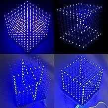 Arduino DIY 8x8x8 LED Cube 3D Light Square Electronic Soldering Sarter Kit Board (Blue Led)