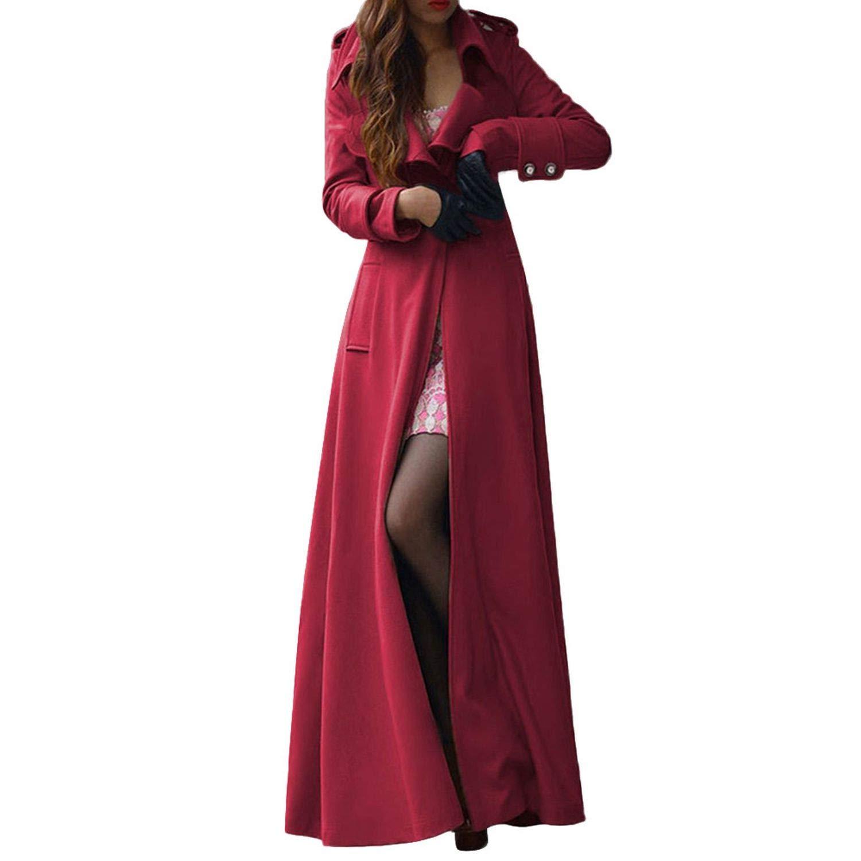 Amazon.com: Wool Coat Women Winter Blends Jacket Fashion Lapel Belt Solid Button Slim X-Long: Clothing