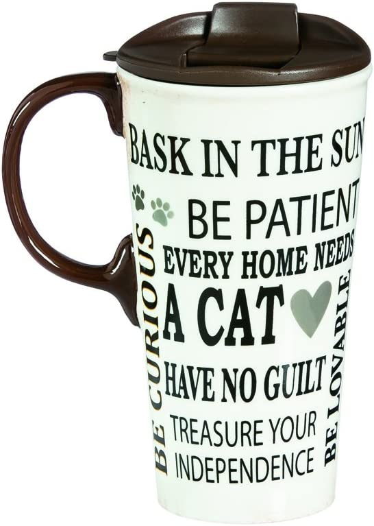 Cypress Home Travel Mug for Cat Lovers - Cat Rules Ceramic Travel Cup - 5 x 7 x 4 Inches Insulated Coffee Tea Mug