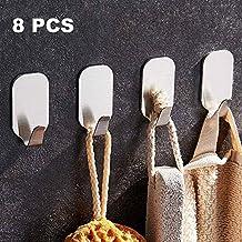 Mellewell 8 PCS Self Adhesive Key Hooks Wall Towel Hangers, Stainless Steel Brushed Nickel