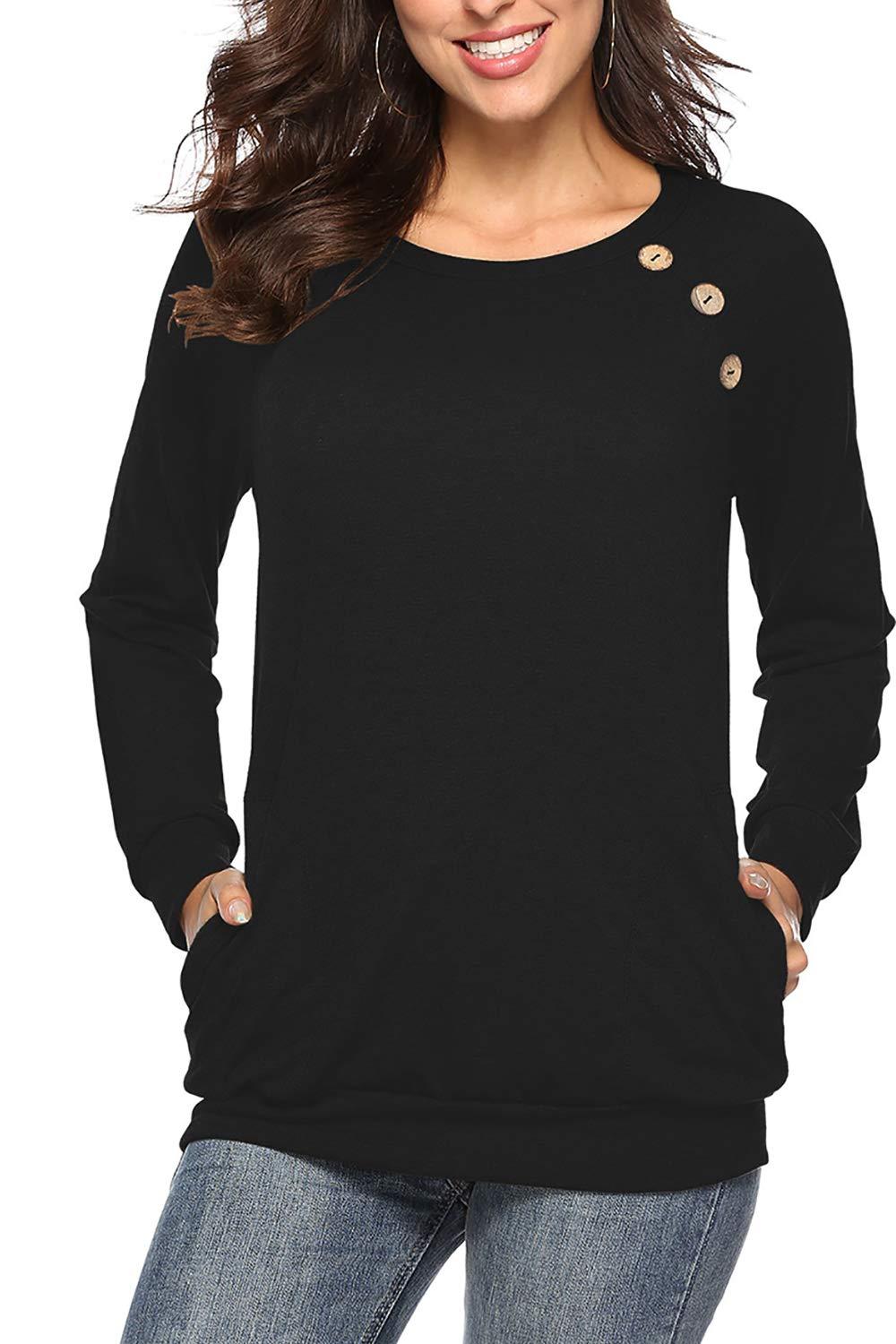 8c1d126ecbff7b NICIAS Damen Langarmshirt Pullover Lässige Rundhals Sweatshirt  Schaltflächen Hemd T Shirt Bluse Tunika Top mit Taschen