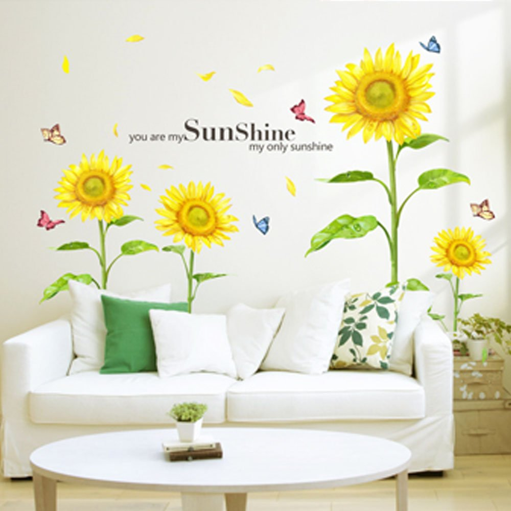 Wall stickers decoration for kids - Amazon Com Docooler Sunshine Sunflower Butterfly Dancing In Summer Beautiful Removable Wall Stickers Diy Kid S Child Room Decor Decal Lm858 90 60cm