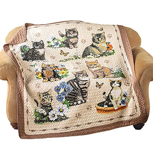 Quilted Throw Blanket, Charming Cat/Kitten and Floral Collage, 6