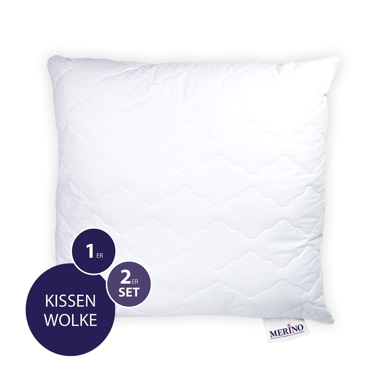 Merino Betten Hochwertiges Kopfkissen 70x70 Schlafkissen Innenkissen Mit Verstepptem Bezug Weitere Verfügbar Serie Wolke
