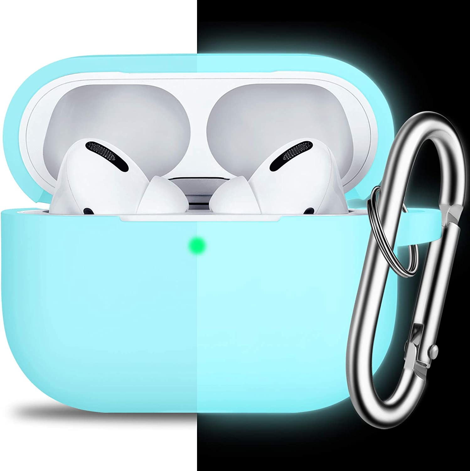 AirPods Pro Case Cover with Keychain, Full Protective Silicone Skin Accessories for Women Men Girl with Apple 2019 Latest AirPods Pro Case, Front LED Visible-Night Glow