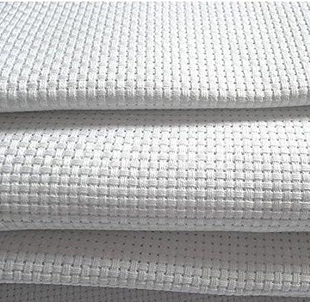 Tela Aida 14 blanca – 100 % algodón tejido de punto de cruz – 8 tamaños para elegir, Blanco, 150X110cm: Amazon.es: Hogar