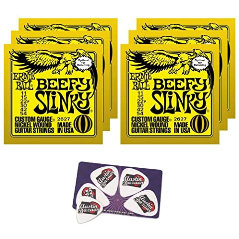 Ernie Ball 2627 Beefy Slinky String Set (11 - 54) Droptuning Electric Guitar Strings - 6 Pack with - Ernie Ball Beefy Slinky String