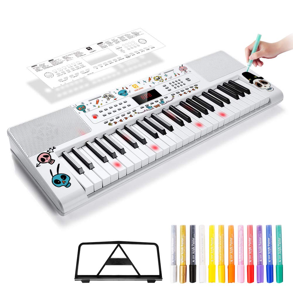 Vangoa VGK4901 49 Lighted Keys Electronic Piano Keyboard, LCD Display Screen with Mic & Power Adapter and Colorful Art Markers, Upgraded Version of VGK4900 VGK4901 Type A