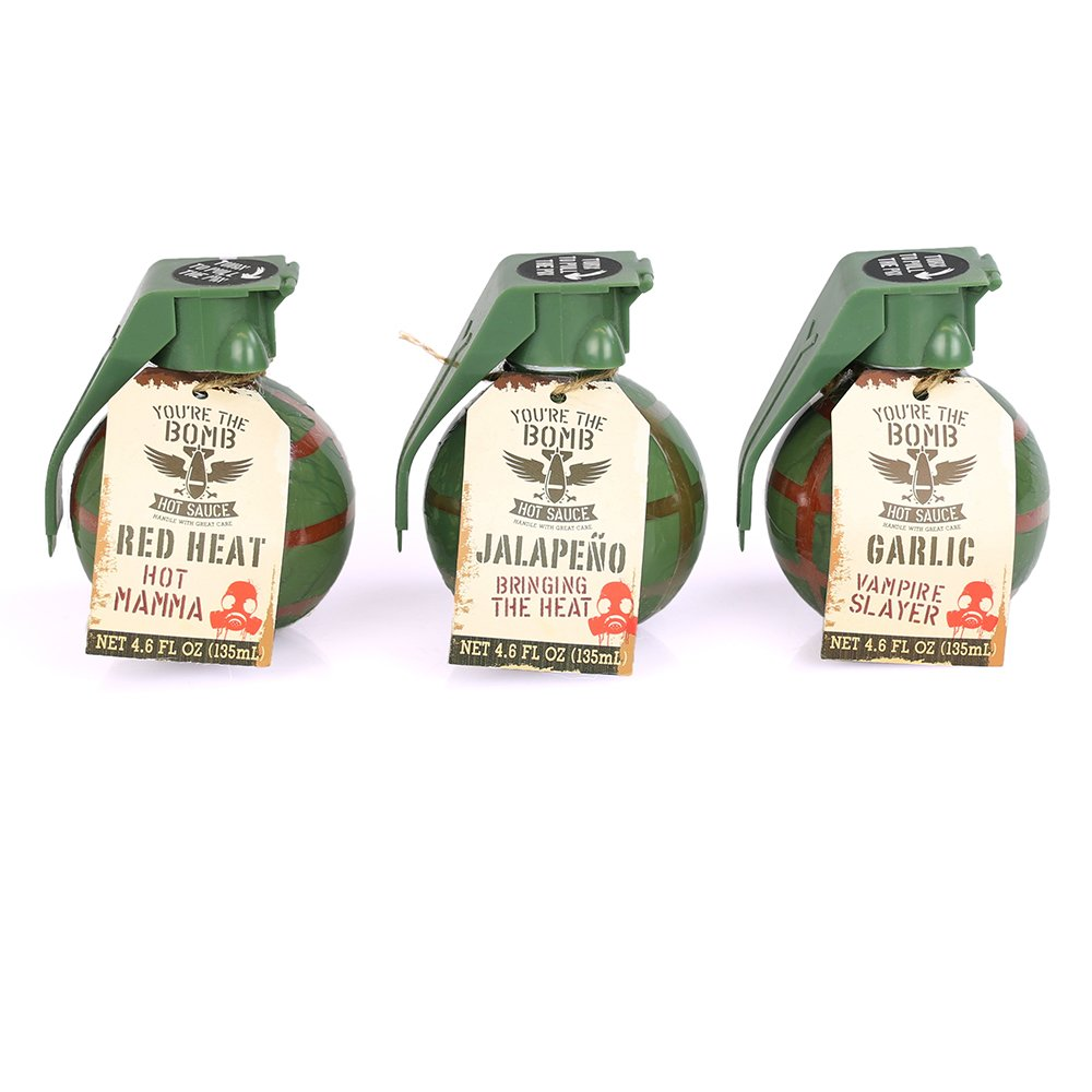The 'You're the Bomb' Hot Sauce Gift Set (Set of 3) by Thoughtfully | Includes Garlic Hot Sauce, Red Heat Sauce & Jalapeño Hot Sauce