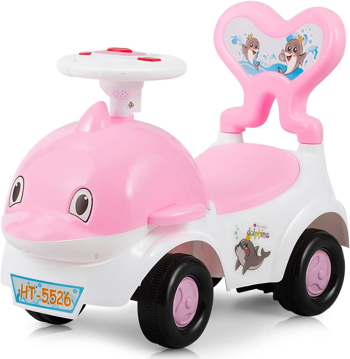 Baby Joy 3 in 1 Push and Ride Racer for Kids, Ride-on Toy, Walker & Sliding Car, Cartoon Pushing Cart with Sound, Light, Backrest, Safe Brake and ...