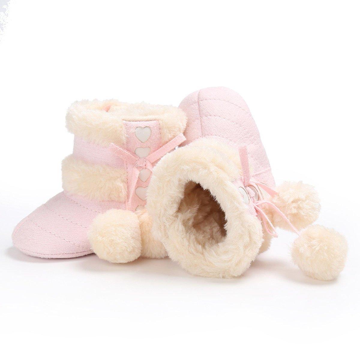 Butterme Babyschuhe Longra Baby Stiefel Winter Warm Soft Sohle Anti-Rutsch Mid Kalb Krippe Schuhe mit Pelz getrimmt Pom Pom S/äugling Prewalker Kleinkind Schnee Stiefel F/ür 0-18 Monate Baby