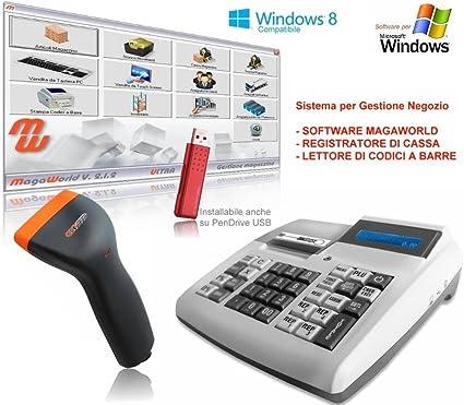 Barcode Direct - Kit de caja registradora, lector de código de barras, software profesional Magaworld, programa de