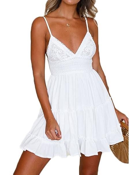 052cda47d1 Dizoo Fisy Women's Sleeveless V Neck Tie Back Beach Dress Lace Short Summer  A Line Dress Sundress at Amazon Women's Clothing store: