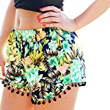 Sunm boutique Women's Shorts Beach Shorts Pom Pom Shorts Tassel Shorts Casual Shorts Summer Beach Shorts (Extra-Large, Green)