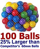 """My Balls Pack of 100 Large 2.5"""" Soft Plastic Pit Ball in 5 Bright Colors - Air-Filled; True-to-Size; Phthalate Free; BPA Free; non-PVC; non-Recycled Material"""