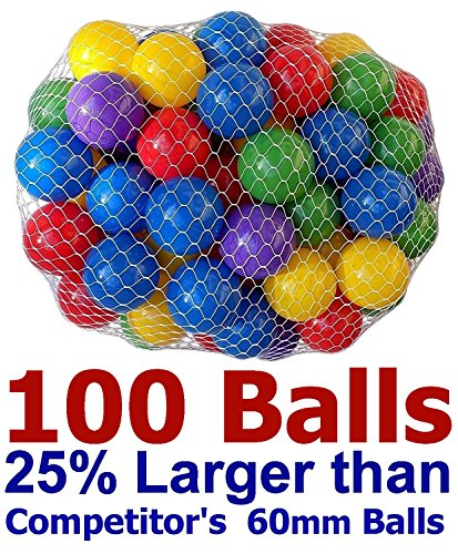 "My Balls Pack of 100 Large 2.5"" Soft Plastic Pit Ball in 5 Bright Colors - Air-Filled; True-to-Size; Phthalate Free; BPA Free; non-PVC; non-Recycled Material"