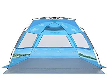 mittaGonG Pop Up Portable Beach Tent Sun Shelter Blue Sky and Ocean XL 95u0026quot;L  sc 1 st  Amazon.com & Amazon.com: mittaGonG Pop Up Portable Beach Tent Sun Shelter Blue ...