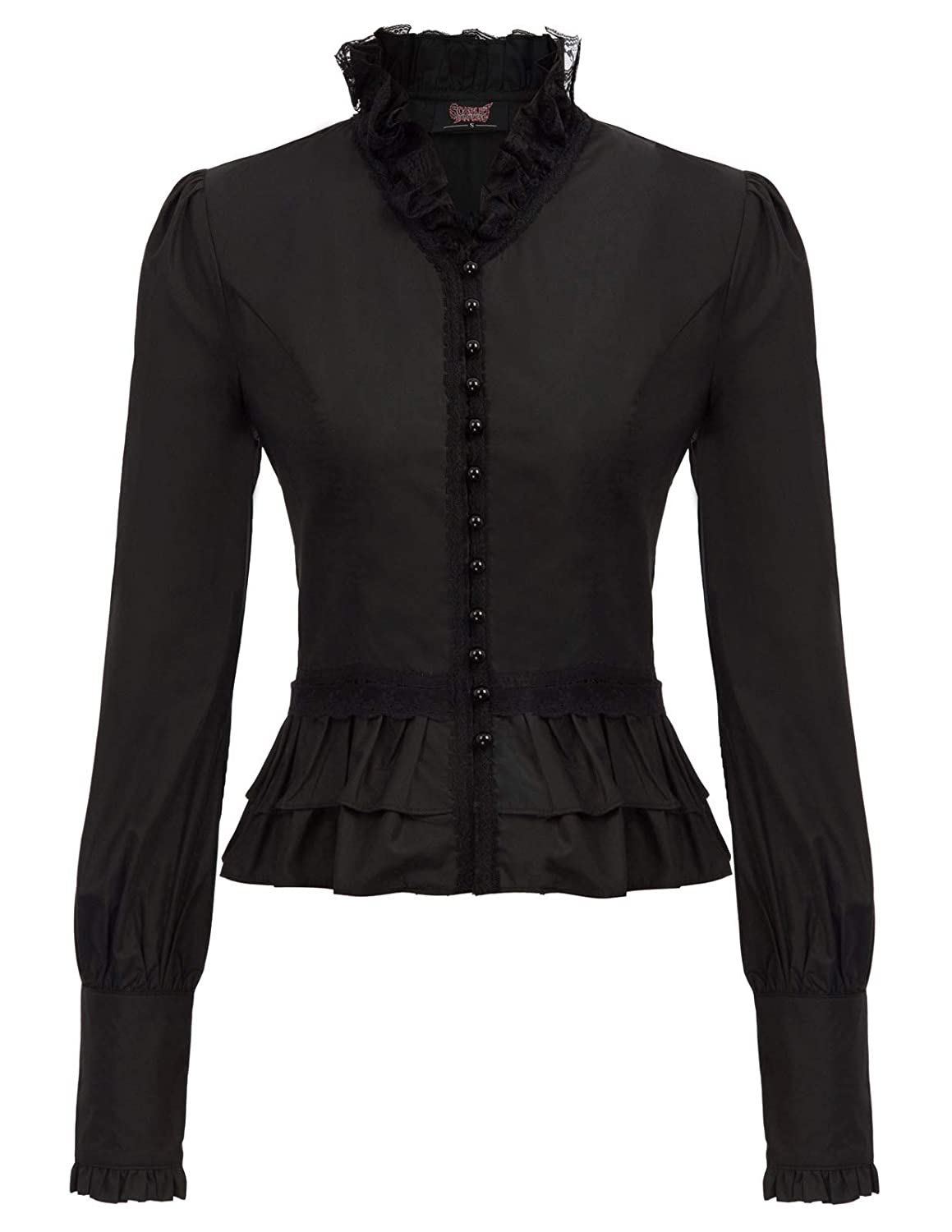 SCARLET DARKNESS Women Gothic Victorian Shirt Tops Long Sleeve Corset Blouse