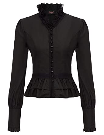 ba487dd5c1e Victorian Gothic Renaissance Blouses Shirts Top Long Sleeve for Christmas  Black 2XL