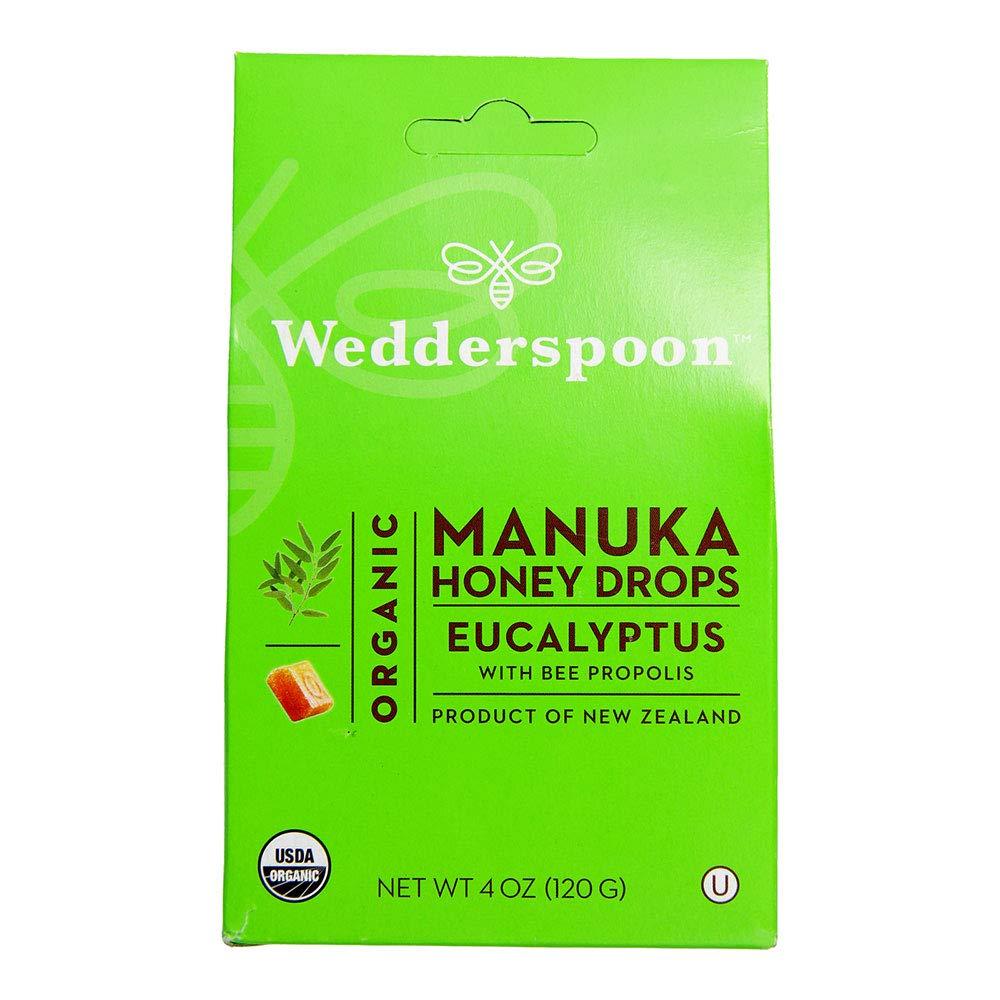 Wedderspoon Organic Manuka Honey Drops, Black, Eucalyptus & Bee Propolis 4 Ounce