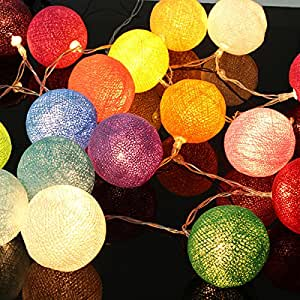 CoolLife 20 Globe Cotton Coloful Led String Lights for Party Fairy Decor Christmas Wedding