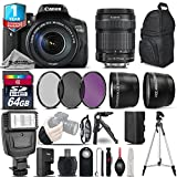 Canon EOS Rebel 750D DSLR Camera + Canon 18-135mm IS STM Lens + Flash + 0.43X Wide Angle Lens + 2.2x Telephoto Lens + UV-CPL-FLD Filters + 64GB Class 10 Memory Card - International Version