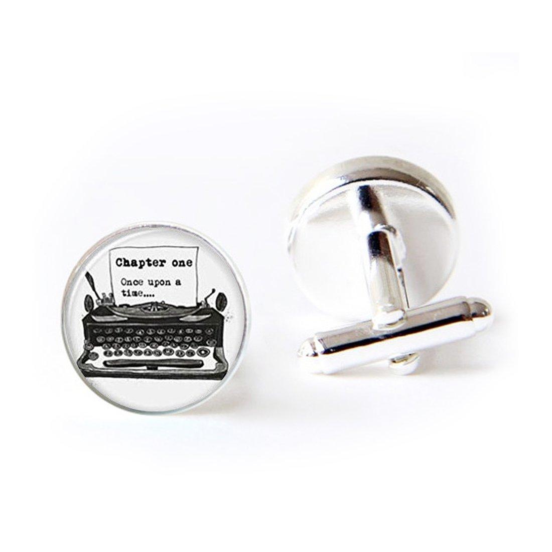 JEANCZ Jewelry Stainless Cufflinks Old Typewriter Vintage Writer Pendant Glass Classic Tuxedo Shirt Cufflinks with Elegant Storage Display Box by JEANCZ (Image #1)