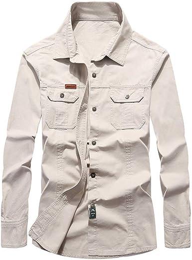 SoonerQuicker Camisa de Hombre Camisa de Trabajo de algodón de Manga Larga con Solapa Multibolsillos y Manga Larga para Hombre: Amazon.es: Ropa y accesorios