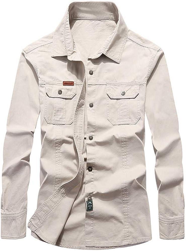 CAOQAO Camisa Hombre Camisa de Trabajo de algodón de Manga Larga de Solapa con múltiples Bolsillos en Primavera y otoño: Amazon.es: Ropa y accesorios
