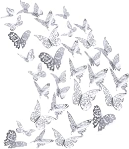 84Pcs Butterfly Wall Decals Sticker Decorations - 3D Metallic Hollow-Out, AUHOKY Removable Mural DIY Home Decor for Kids Bedroom Living Room Party Wedding - Vivid & Attractive (Silver)