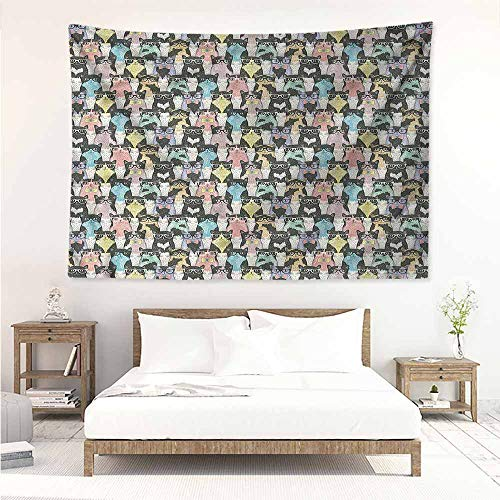 - Sunnyhome Large Wall Tapestry,Cat Retro Hipster Bow Ties,Large Tapestry,W74x57L