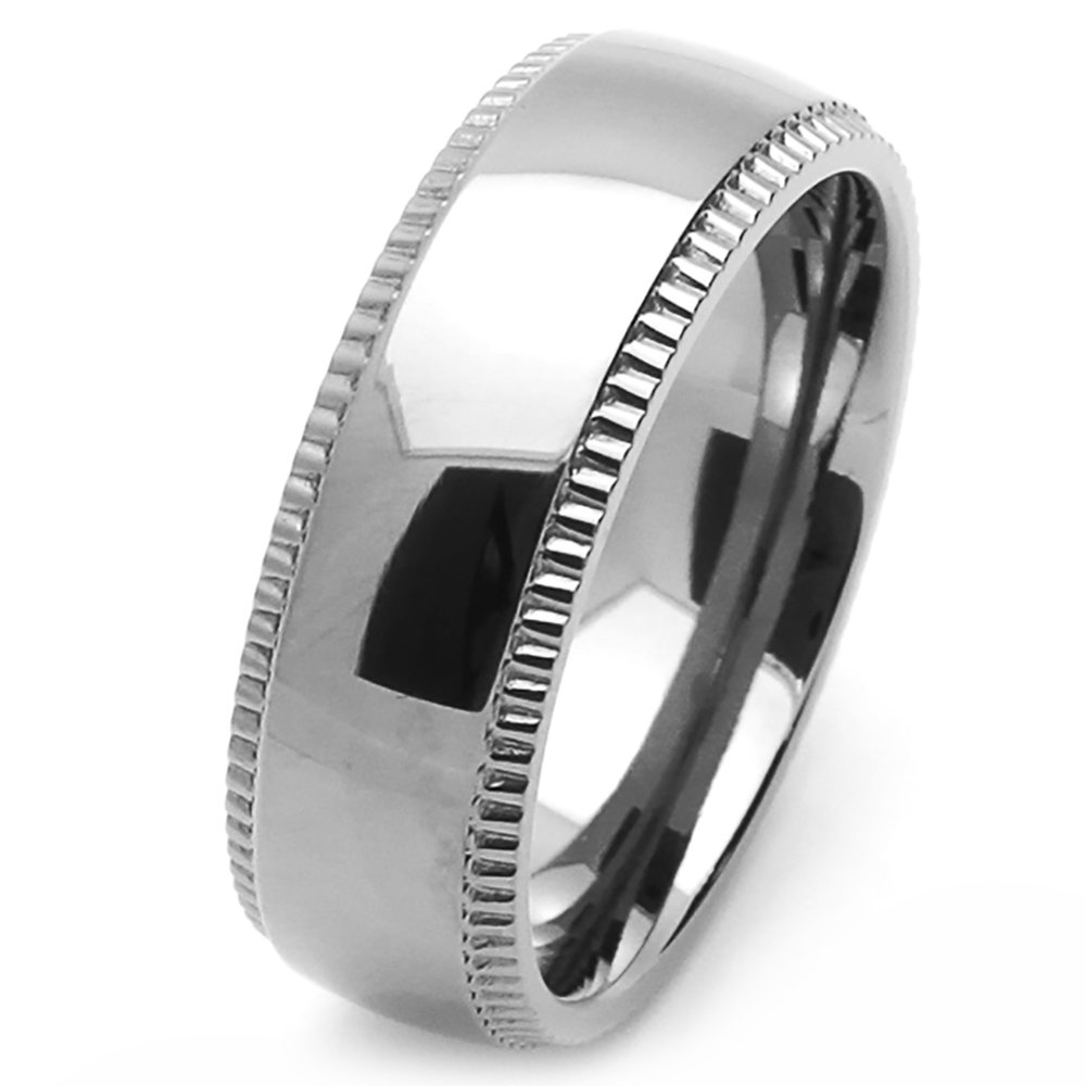 Double Accent Custom Engraving 8MM Comfort Fit Stainless Steel Wedding Band Milgrain Edges Promise Ring