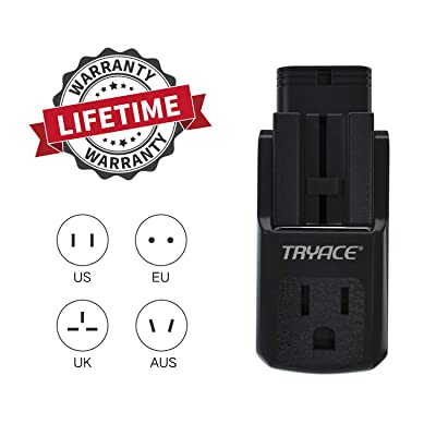 TryAce Travel Adapter,Worldwide All in One Universal Travel Adaptor Wall AC Power Plug Adapter Wall Charger with 3 Outlets&4 Plugs(EU/UK/AU/US) for 190+Countries: Home Audio & Theater